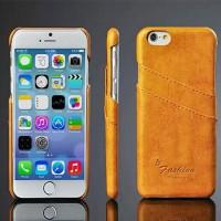 Дизайнерский кожаный чехол накладка с отделениями для карт Iphone 6 Желтый