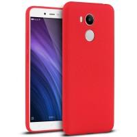 Силиконовый матовый непрозрачный чехол с нескользящим софт-тач покрытием для Xiaomi RedMi 4 Pro  Красный