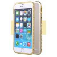 Металлический бампер инкрустированный стразами для Iphone 6 Желтый