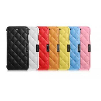 Кожаный чехол горизонтальная книжка (нат. кожа) с дополнительной прошивкой крышки для Iphone 6