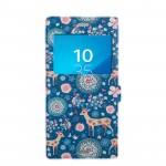 Чехол горизонтальная книжка подставка на силиконовой основе с окном вызова и отсеком для карт на магнитной защелке для Sony Xperia XZ