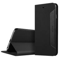 Чехол флип подставка с кожаной прошивкой для Iphone 6 Черный