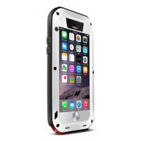Ультрапротекторный пылеводоударостойкий чехол алюминиевый сплав/закаленное стекло/силиконовый полимер для Iphone 6 Белый