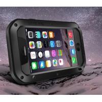 Ультрапротекторный пылеводоударостойкий чехол алюминиевый сплав/закаленное стекло/силиконовый полимер для Iphone 6 Черный