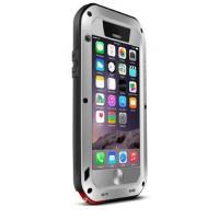 Ультрапротекторный пылеводоударостойкий чехол алюминиевый сплав/закаленное стекло/силиконовый полимер для Iphone 6 Серый