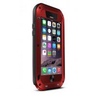 Ультрапротекторный пылеводоударостойкий чехол алюминиевый сплав/закаленное стекло/силиконовый полимер для Iphone 6 Красный