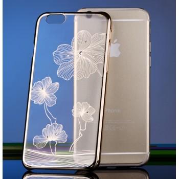 Пластиковый полупрозрачный узорный чехол со стразами Swarovski для Iphone 6