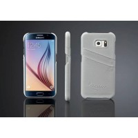 Дизайнерский кожаный чехол накладка с отделениями для карт для Samsung Galaxy S6 Белый