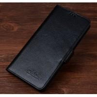 Кожаный чехол портмоне (нат. кожа) подставка для Huawei Honor 7 Черный