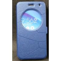 Чехол флип подставка на силиконовой основе с круглым окном вызова текстура Линии для ASUS Zenfone 2 Laser 5 ZE500KL Синий