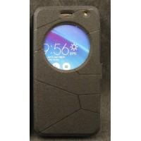 Чехол флип подставка на силиконовой основе с круглым окном вызова текстура Линии для ASUS Zenfone 2 Laser 5 ZE500KL Черный