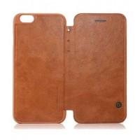 Кожаный дизайнерский чехол-флип с отделением для карт для Iphone 6 Коричневый