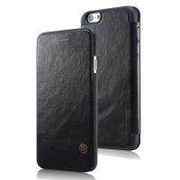 Кожаный дизайнерский чехол-флип с отделением для карт для Iphone 6 Черный