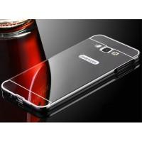 Гибридный металлический двухкомпонентный чехол с поликарбонатной крышкой с зеркальным покрытием для Samsung Galaxy A3 Серый