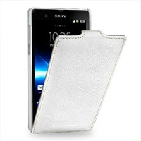 Кожаный чехол вертикальная книжка (нат. кожа) для Sony Xperia Z Белый