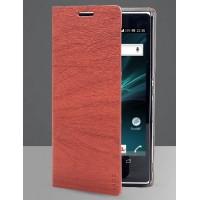Текстурный чехол флип с отделением для Sony Xperia Z Коричневый