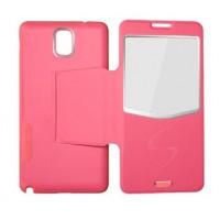 Чехол флип подставка с окном вызова серия Half Access встраиваемый для Samsung Galaxy Note 3 Розовый