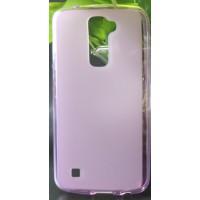 Силиконовый матовый полупрозрачный чехол для LG K10 Розовый