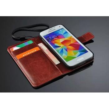 Чехол портмоне подставка глянцевая кожа для Samsung Galaxy S5 Mini