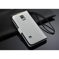 Чехол портмоне подставка глянцевая кожа для Samsung Galaxy S5 Mini Белый