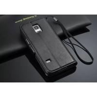Чехол портмоне подставка глянцевая кожа для Samsung Galaxy S5 Mini Черный