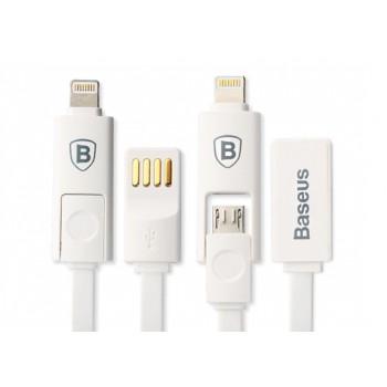 Кабель зарядный универсальный плоского сечения 1м Micro USB/Lightning со сменной насадкой