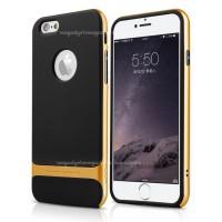 Силиконовый премиум чехол с поликарбонатным каркасным бампером для Iphone 6 Plus Оранжевый