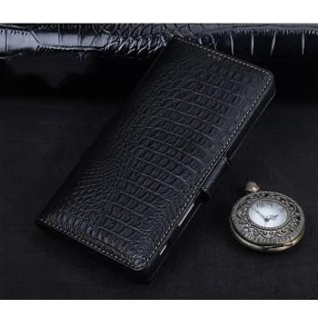 Кожаный чехол портмоне подставка (премиум нат. кожа крокодила) с крепежной застежкой для Sony Xperia XA Ultra