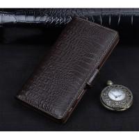 Кожаный чехол портмоне подставка (премиум нат. кожа крокодила) с крепежной застежкой для Sony Xperia XA Ultra Коричневый