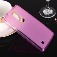 Силиконовый матовый полупрозрачный чехол для LG Magna Розовый
