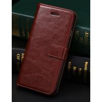 Чехол портмоне подставка с защелкой и отсеками для карт для Iphone 6 Plus Коричневый