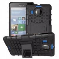 Антиударный силиконовый чехол экстрим защита с подставкой для Microsoft Lumia 950 XL Черный