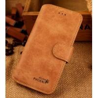 Винтажный чехол портмоне подставка с пластиковой основой и отсеками для карт для Iphone 6 Plus Зеленый