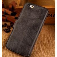 Винтажный чехол портмоне подставка с пластиковой основой и отсеками для карт для Iphone 6 Plus Черный
