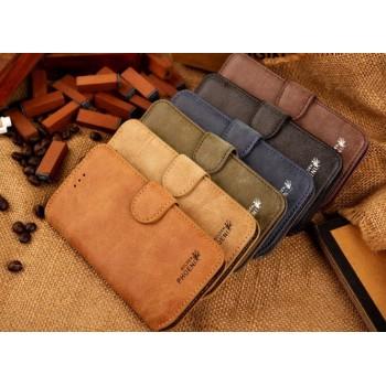 Винтажный чехол портмоне подставка с пластиковой основой и отсеками для карт для Iphone 6 Plus