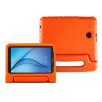 Ударостойкий детский силиконовый матовый гиппоаллергенный непрозрачный чехол с встроенной ножкой-подставкой для Samsung Galaxy Tab E 9.6 Оранжевый
