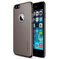 Пластиковый матовый чехол с лого-вырезом для Iphone 6 Plus Серый