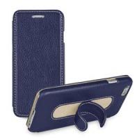 Кожаный чехол флип подставка с ножкой-вкладышем (нат. кожа) для Iphone 6 Синий
