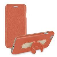 Кожаный чехол флип подставка с ножкой-вкладышем (нат. кожа) для Iphone 6 Оранжевый