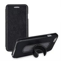 Кожаный чехол флип подставка с ножкой-вкладышем (нат. кожа) для Iphone 6 Черный