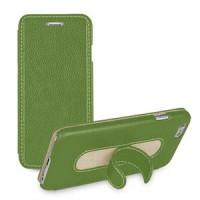 Кожаный чехол флип подставка с ножкой-вкладышем (нат. кожа) для Iphone 6 Зеленый