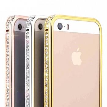 Металлический глянцевый чехол с инкрустацией стразами для Iphone 6