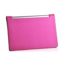 Чехол подставка с рамочной защитой экрана текстура Линии для Lenovo Yoga Tablet 10 Розовый
