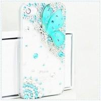 Пластиковый транспарентный чехол с аппликацией из страз Бабочка для Iphone 6 Plus Голубой