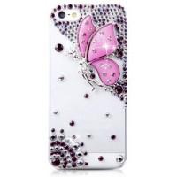 Пластиковый транспарентный чехол с аппликацией из страз Бабочка для Iphone 6 Plus Розовый