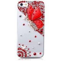 Пластиковый транспарентный чехол с аппликацией из страз Бабочка для Iphone 6 Красный