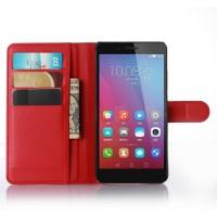Чехол портмоне подставка на пластиковой основе на магнитной защелке для Huawei Honor 5X Красный
