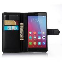 Чехол портмоне подставка на пластиковой основе на магнитной защелке для Huawei Honor 5X Черный