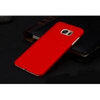 Пластиковый матовый непрозрачный чехол для Samsung Galaxy S7 Edge Красный