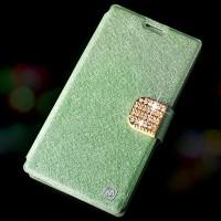 Чехол флип подставка с защелкой со стразами для Alcatel One Touch Idol X+ Зеленый